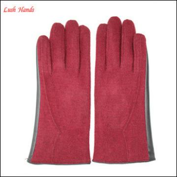 Ladies hot selling half woolen half leather gloves with wholesale price