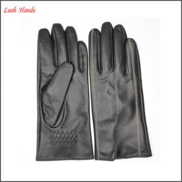 ladies fashion dress Red leather gloves