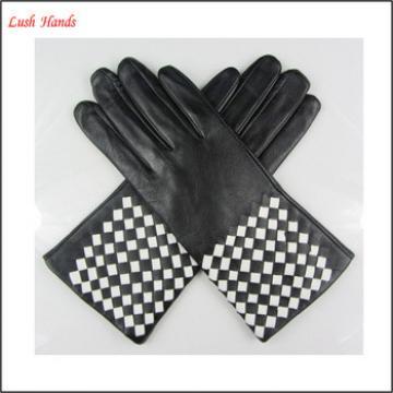 Ladies fashion nappa sheep weaving leather gloves