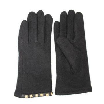 Ladies black woolen gloves with metal rivets for wholesale