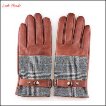 2015 Men's fashion nappa sheep Plover case cloth leather gloves
