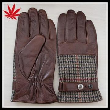 New arrivals, fashion men leather gloves with fabric