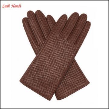 ladies fashion brown weaving genuine leather gloves