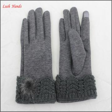 ladies high-quality fur ball woolen gloves wiht knitted cuff for wholesale