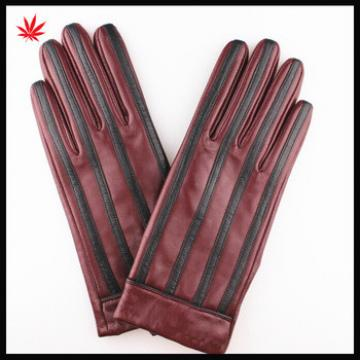 Ladies high quality fashion stripe sheepskin wine red leather gloves