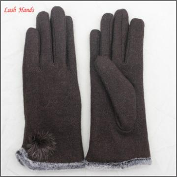 ladies fashionable fur ball thermal woolen gloves for wholesale