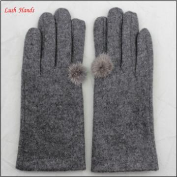 ladies simple grey woolen hand gloves women with finger buld