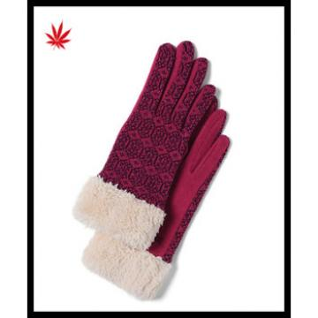 ladies popular woolen gloves decorated with faux fur cuff
