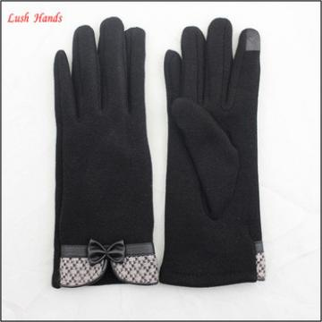 Ladies high-quality black micro velvet bow gloves for wholesale