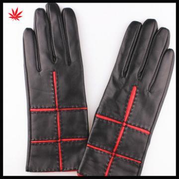 ladies genuine sheepskin driving leather gloves black