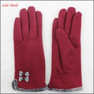 top selling ladies lovely woolen gloves with bow and fur cuff