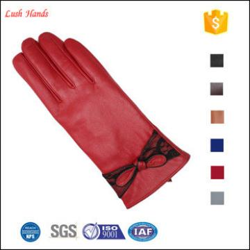 ladies red winter thin leather hand gloves winter with knot