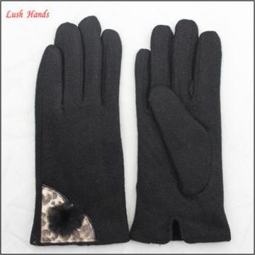 2016 women's fashionable ladies black woolen gloves with rabbit fur ball