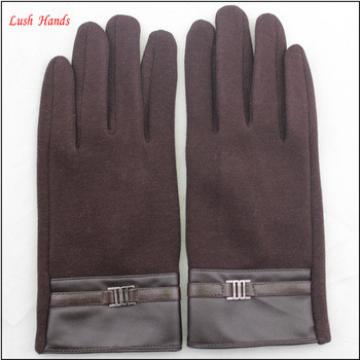 Ladies classic style woolen gloves with leather wrist for wholesale