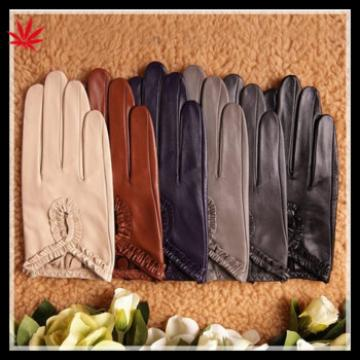 Ladies fashion leather gloves nappa sheep color leather gloves