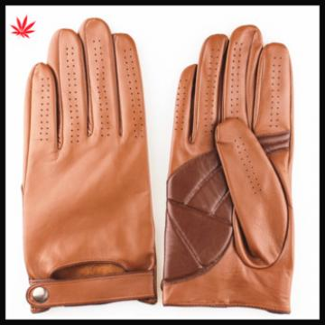 2015 new style brown sheepskin and pu leather gloves with belt