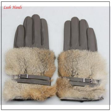 lady grey genuine rabbit fur sexy leather gloves with belt buckle
