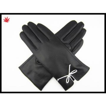 2016 ladies leather hand gloves driving leather gloves with bownot
