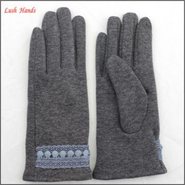 Ladies woolen gloves with lace belt on wrist for wholesale
