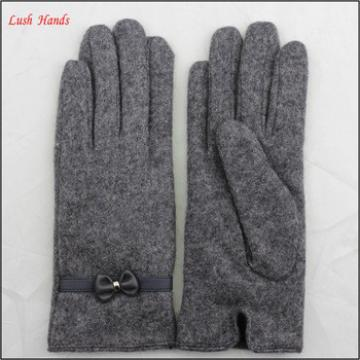 Ladies grey micro velvet gloves with leather bow for bulk purchase