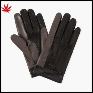ladies finger touch sheepskin leather gloves grey and black