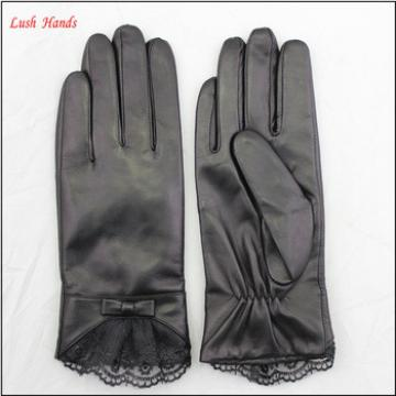 ladies wholesale winter leather hand gloves black with lace