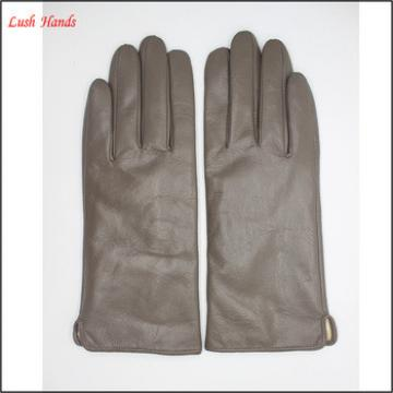 2016 wholesale lady finger-trimmed brown genuine sheepskin touch-screen gloves