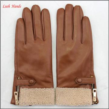 ladies cheap driving leather hand gloves with lamb fur