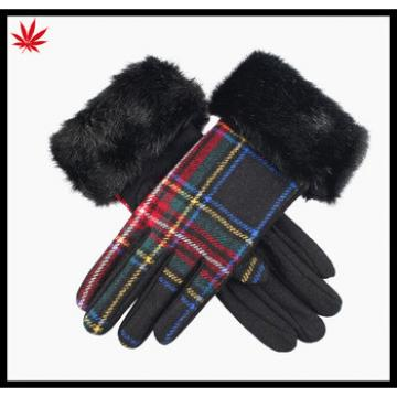 Ladies cheap woolen gloves with horse fur