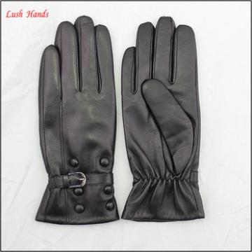 ladies winter cheap leather hand gloves black women