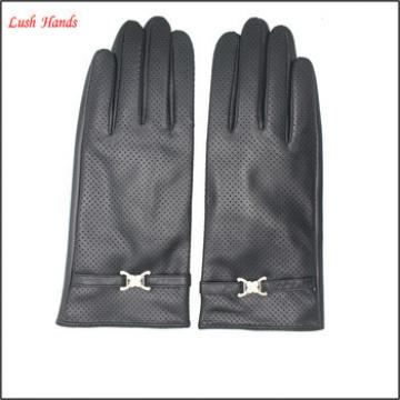 women genuine leather hand gloves black with belt