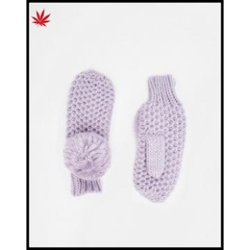 Ladies cheap purple knitting mittens gloves