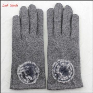 2016 ladies woolen top hand gloves winter with fur