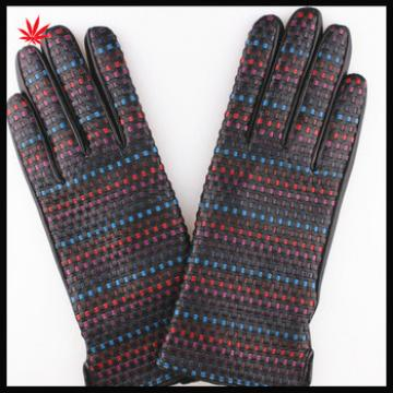 Ladies fashion woven leather stitching sheep leather gloves