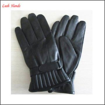 simple men 's warm winter black driving leather fabric wholesale gloves with belt
