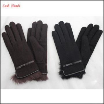 2016 women fashion woolen gloves and real Fur woolen gloves