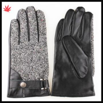 men's fashion cloth and sheep skin leather gloves with belt