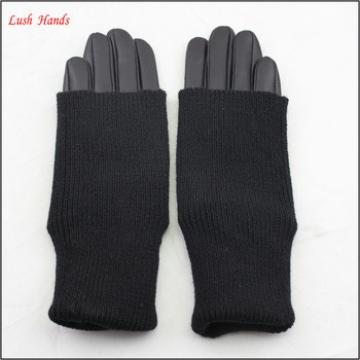 ladies winter wholesale black leather hand gloves with Knitting looping