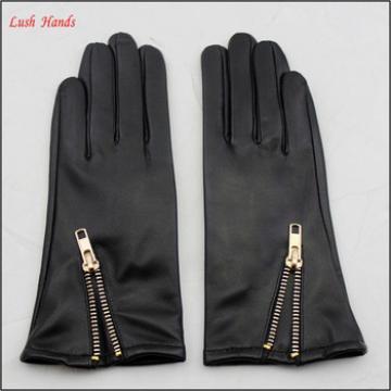 Women genuine wholesale sheepskin winter leather gloves with zipper