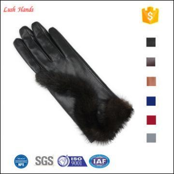 ladies genuine sheepskin new fashion dress leather gloves with fur