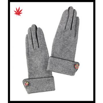 Ladies woolen gloves with turn-down cuff for wholesale