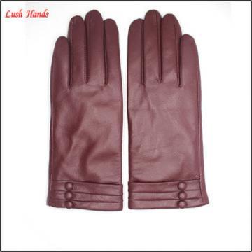 2016 women fashion goatskin touch-screen buttons goatskin hand leather gloves with folding wristband