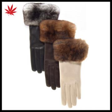 Women Warm Sheepskin Leather Cold Weather Gloves With Fur