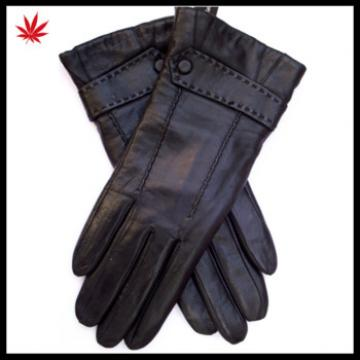 Women's New Style sheepskin Leather Gloves with Button