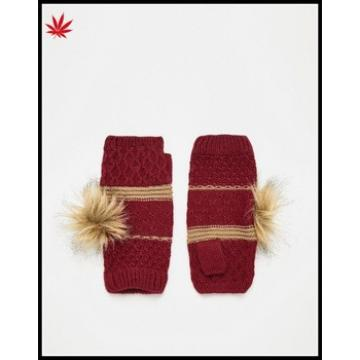 ladies wholesale red knitting fingerless mittens gloves with bulb
