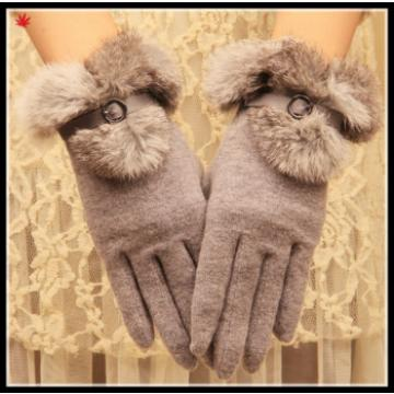 2016 new style ladies woolen gloves with faux fur cuff