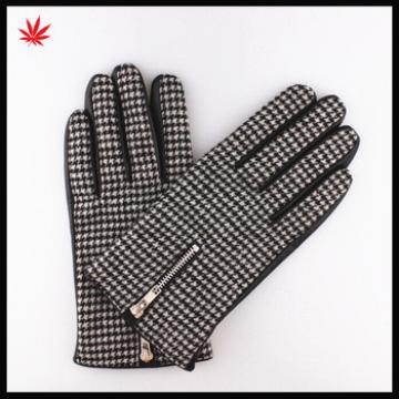 Ladies fashion knitting crochet stitching leather gloves