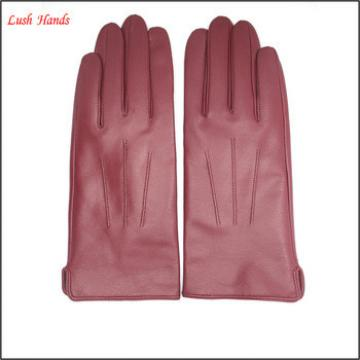 women wine red leather hand gloves wholesale leather gloves