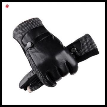 men's genuine leahter gloves with leather belt and button