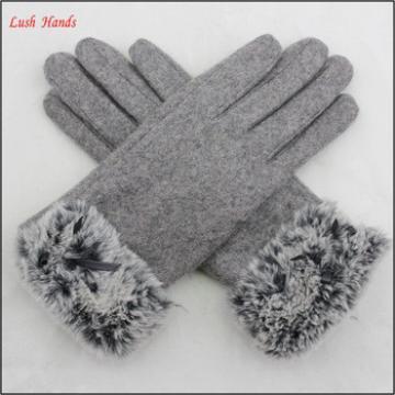 women winter woolen gloves with fake fur